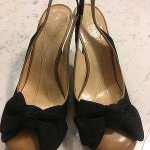 Kate Spade Black Tan Leather Slingback Bow Heels